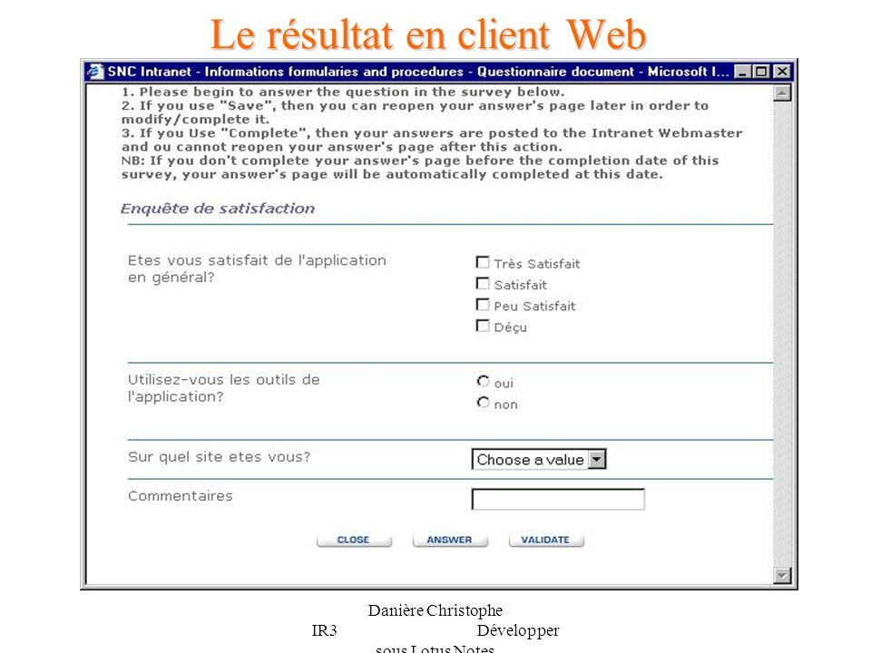 Le résultat en client Web