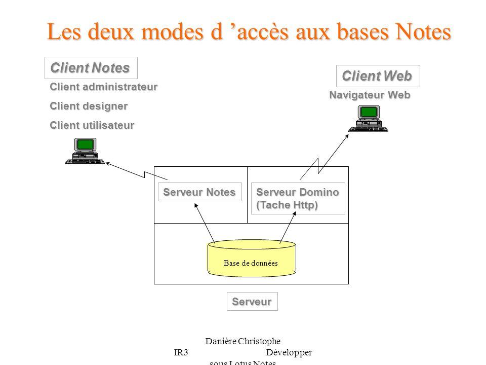 Les deux modes d 'accès aux bases Notes