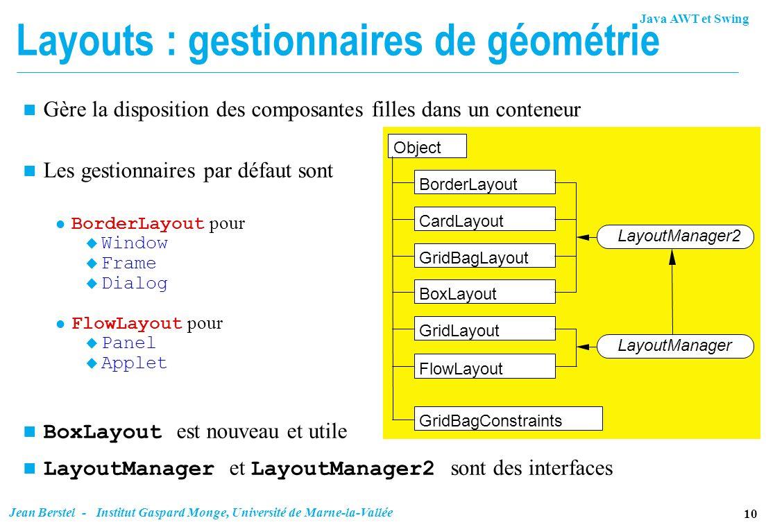 Layouts : gestionnaires de géométrie