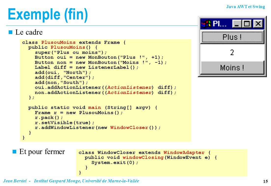 Exemple (fin) Le cadre Et pour fermer