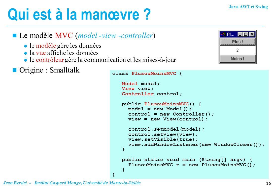 Qui est à la manœvre Le modèle MVC (model -view -controller)