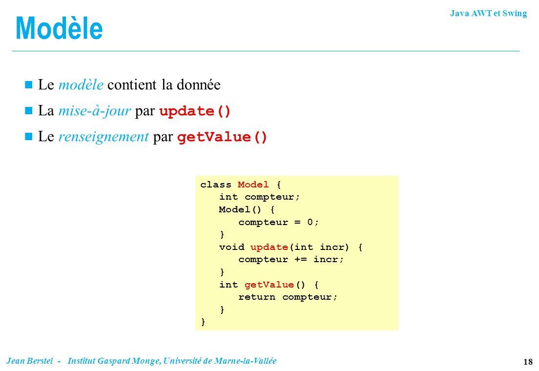 Modèle Le modèle contient la donnée La mise-à-jour par update()