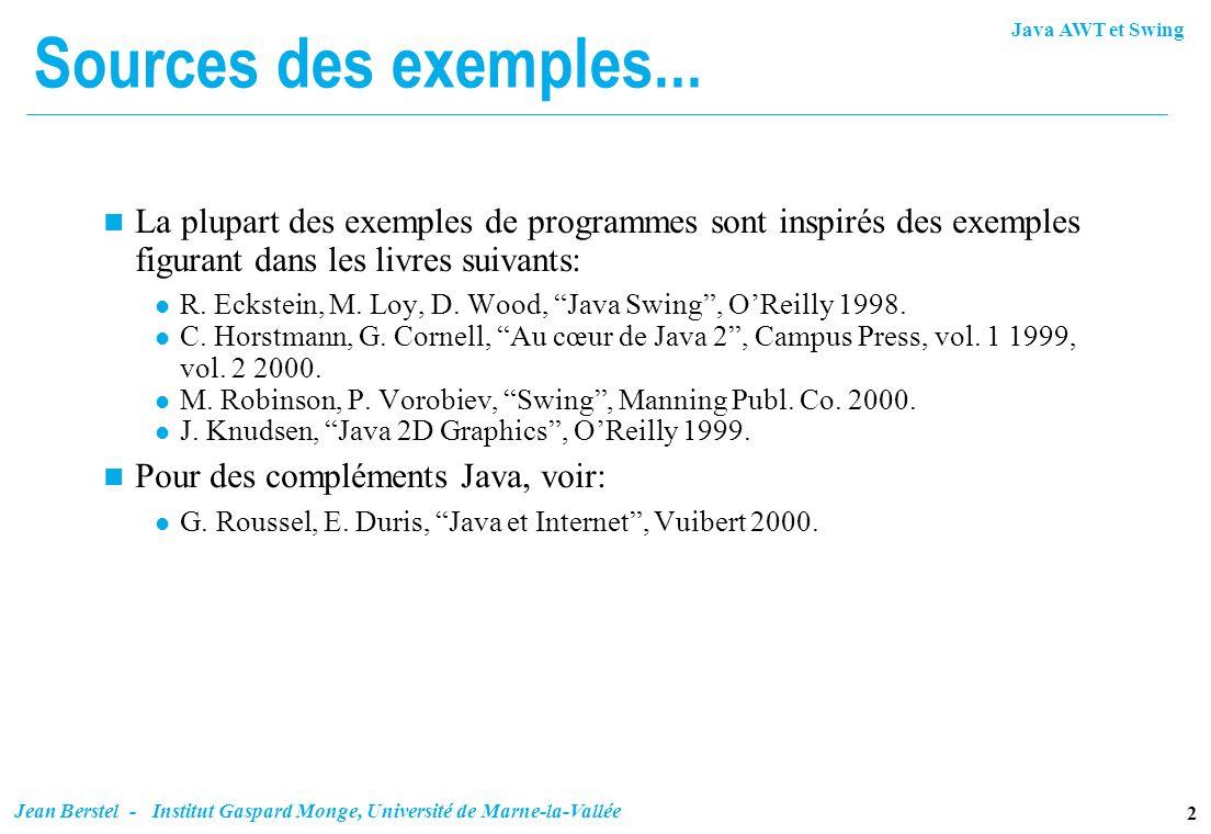 Sources des exemples... La plupart des exemples de programmes sont inspirés des exemples figurant dans les livres suivants: