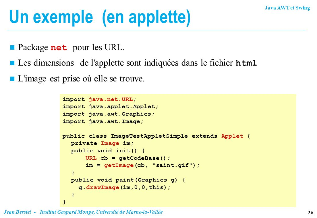 Un exemple (en applette)