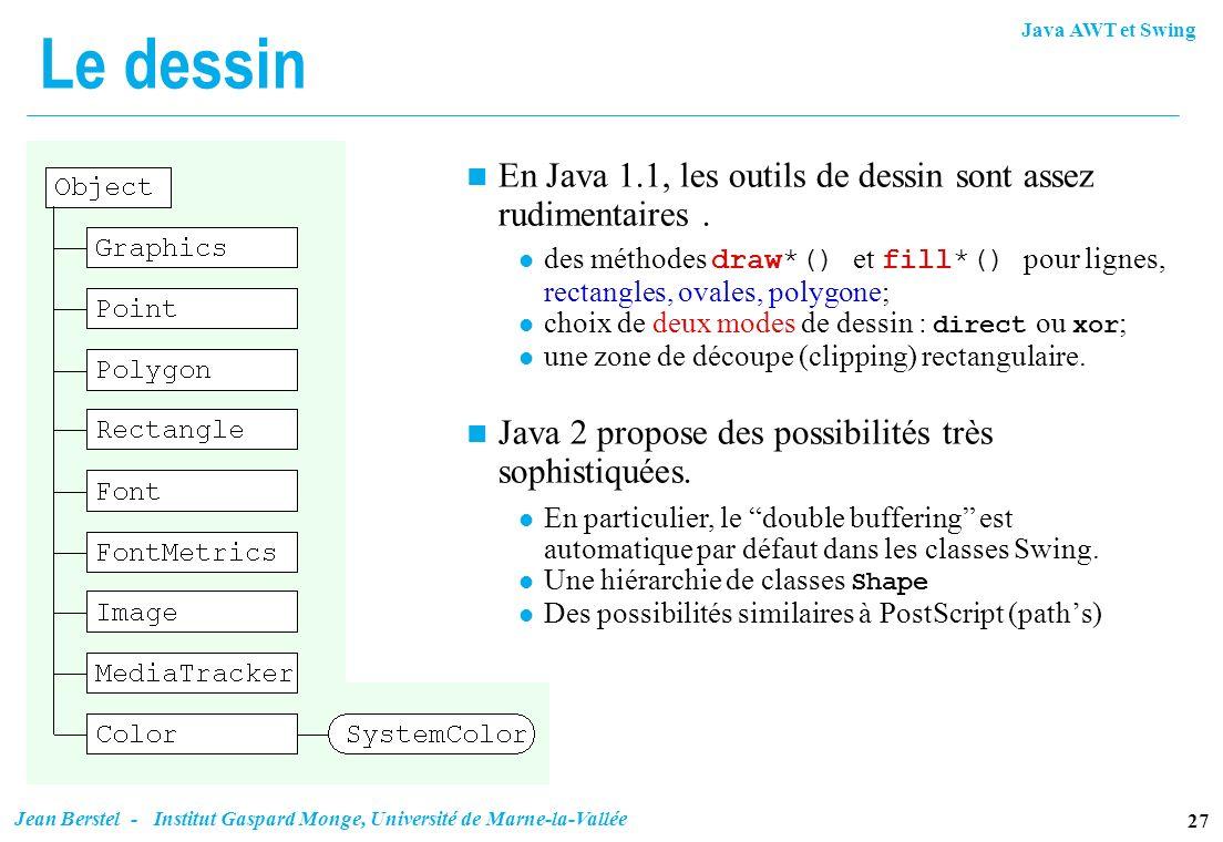 Le dessin En Java 1.1, les outils de dessin sont assez rudimentaires .