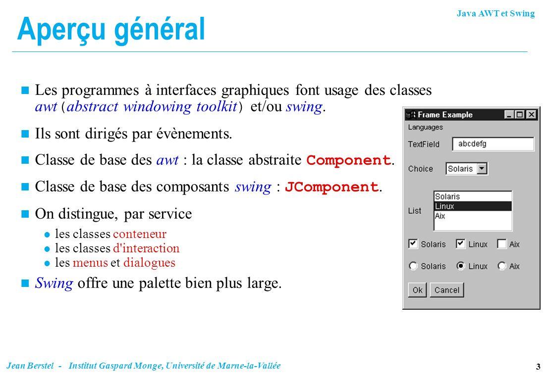Aperçu généralLes programmes à interfaces graphiques font usage des classes awt(abstract windowing toolkit) et/ou swing.