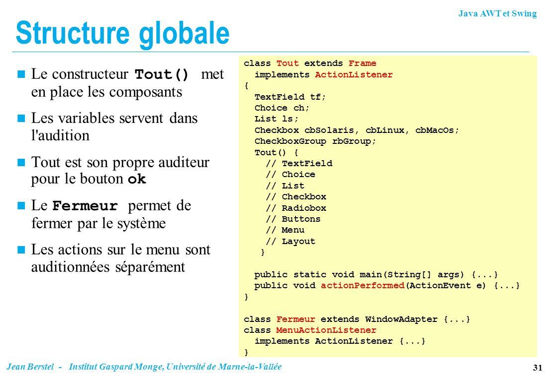 Structure globale Le constructeur Tout() met en place les composants