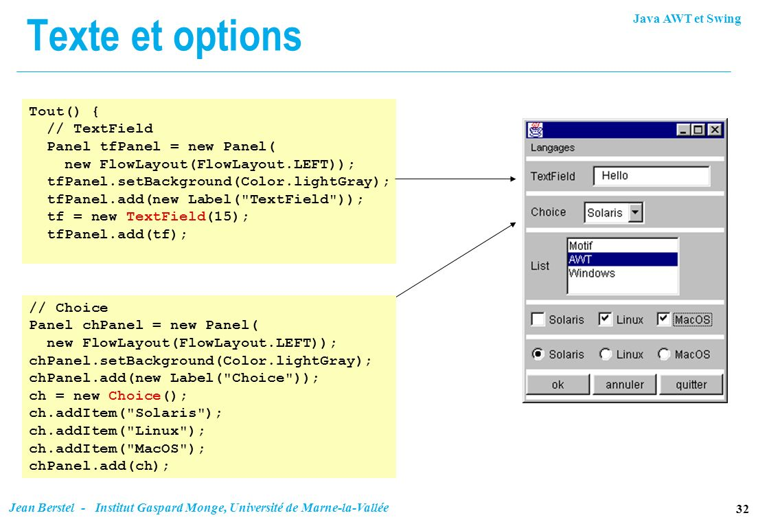 Texte et options Tout() { // TextField Panel tfPanel = new Panel(