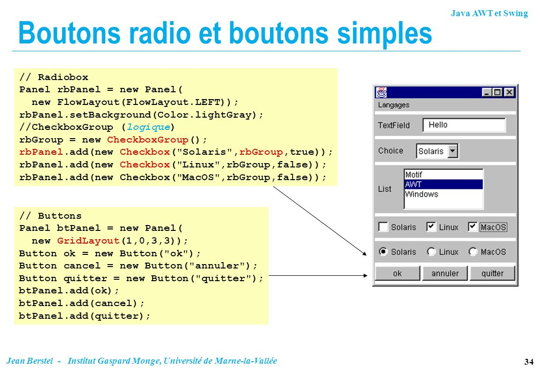 Boutons radio et boutons simples