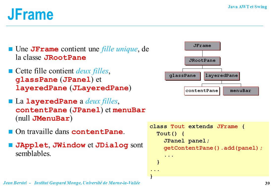 JFrame Une JFrame contient une fille unique, de la classe JRootPane