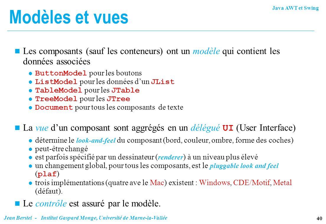 Modèles et vuesLes composants (sauf les conteneurs) ont un modèle qui contient les données associées.