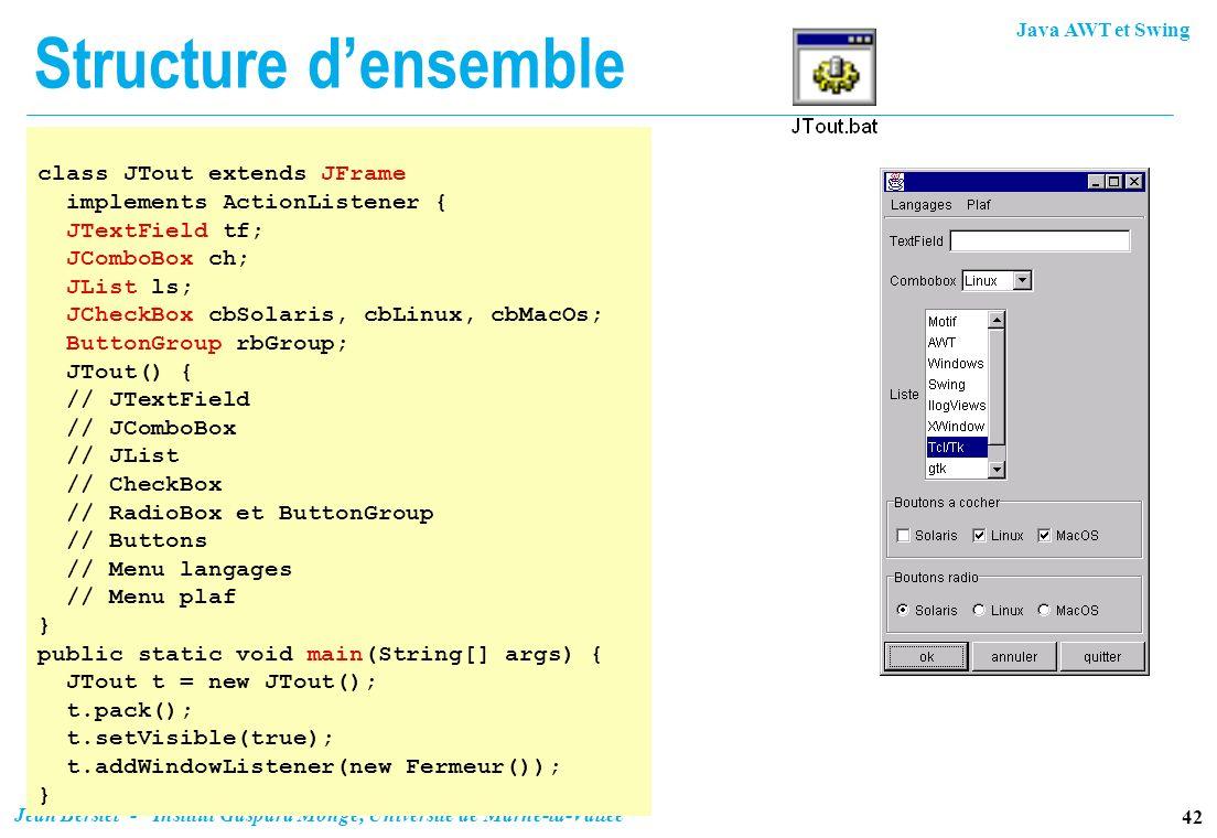 Structure d'ensembleclass JTout extends JFrame. implements ActionListener { JTextField tf; JComboBox ch;