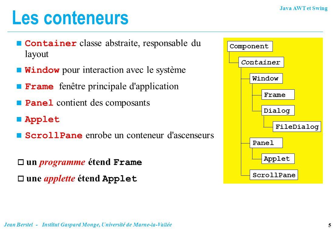 Les conteneurs Container classe abstraite, responsable du layout