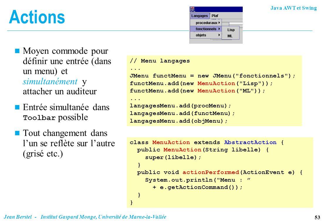 ActionsMoyen commode pour définir une entrée (dans un menu) et simultanément y attacher un auditeur.