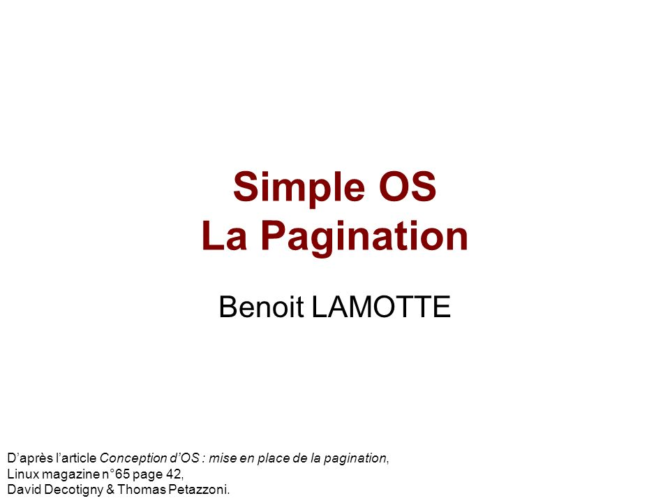 Simple OS La Pagination
