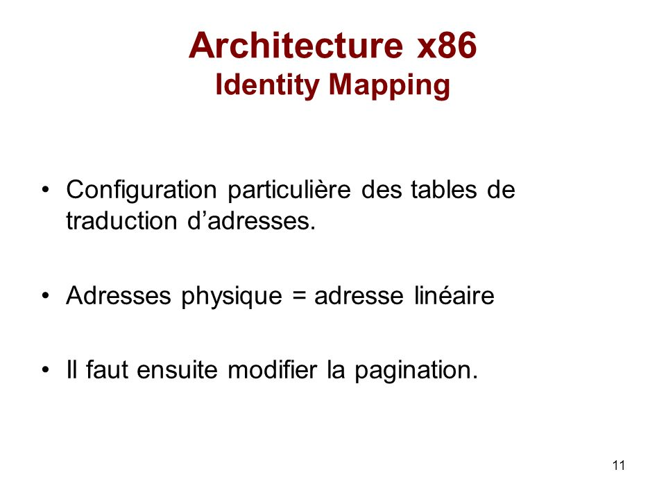 Architecture x86 Identity Mapping