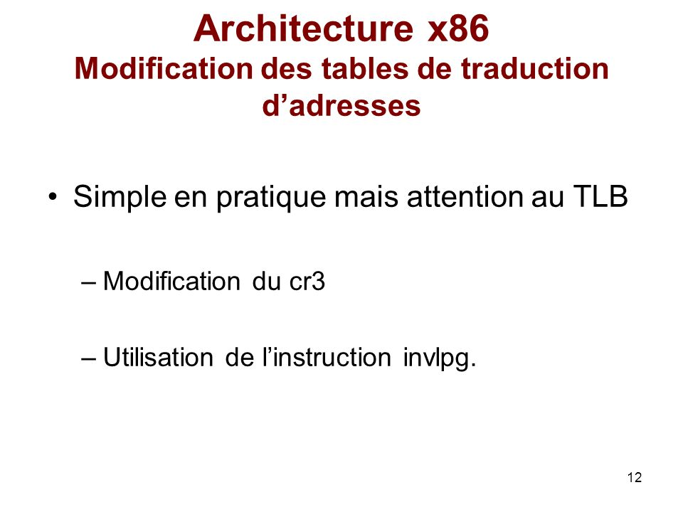 Architecture x86 Modification des tables de traduction d'adresses