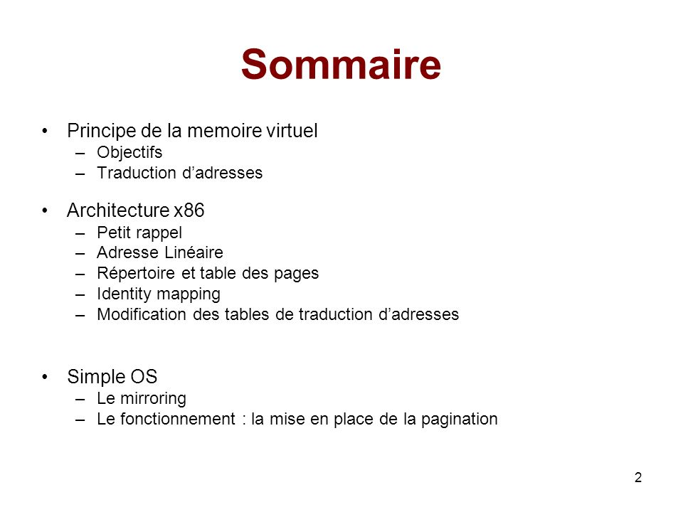 Sommaire Principe de la memoire virtuel Architecture x86 Simple OS