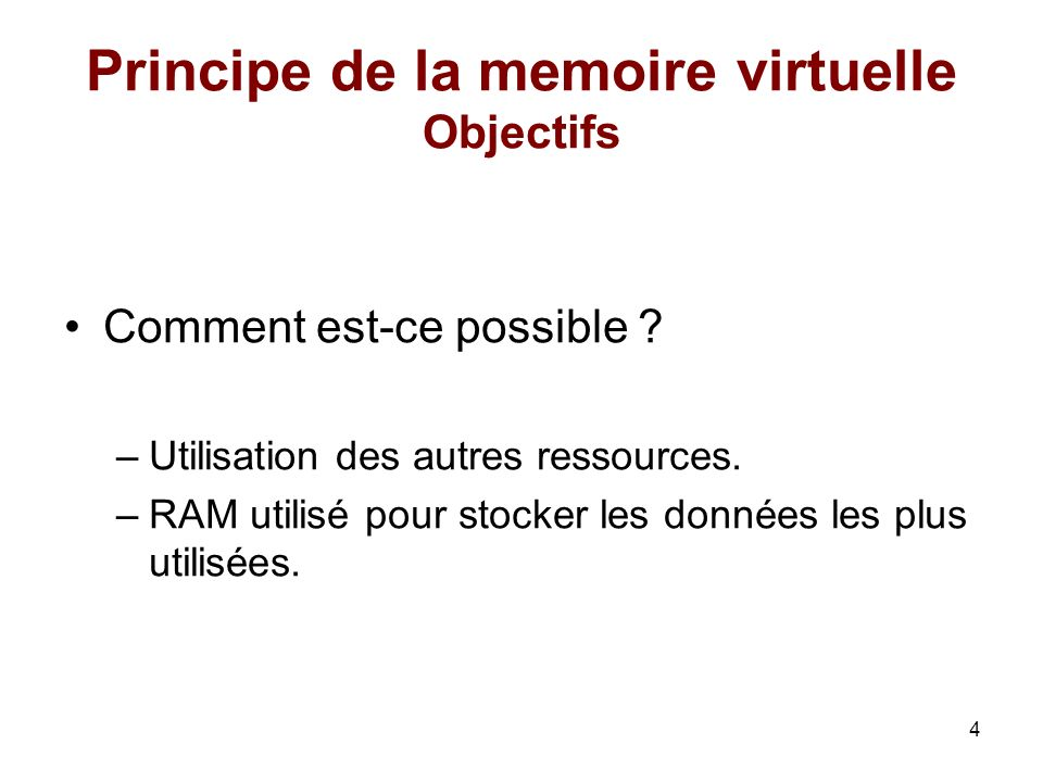 Principe de la memoire virtuelle Objectifs