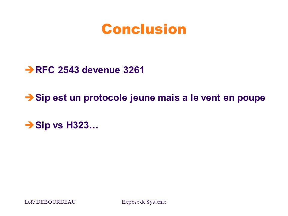 Conclusion RFC 2543 devenue 3261