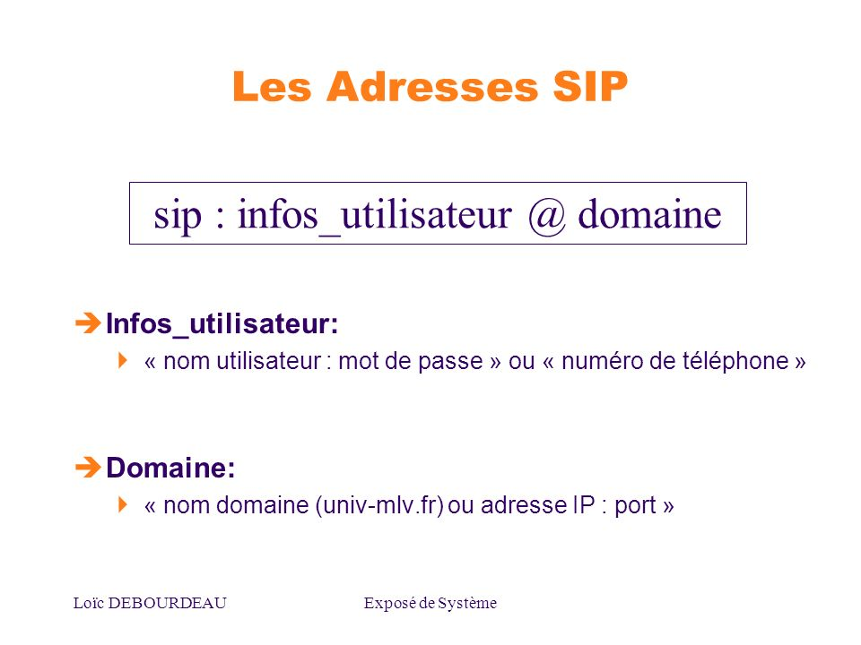sip : domaine