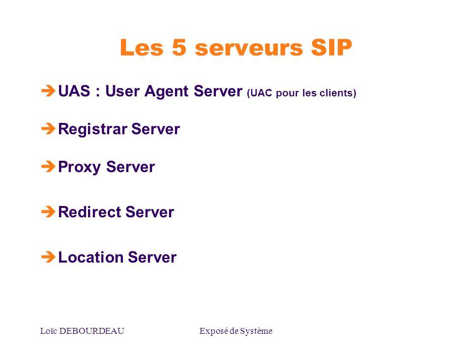 Les 5 serveurs SIP UAS : User Agent Server (UAC pour les clients)