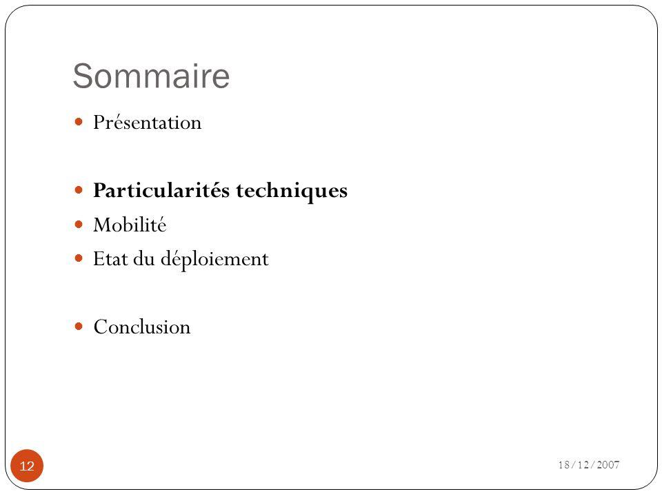 Sommaire Présentation Particularités techniques Mobilité
