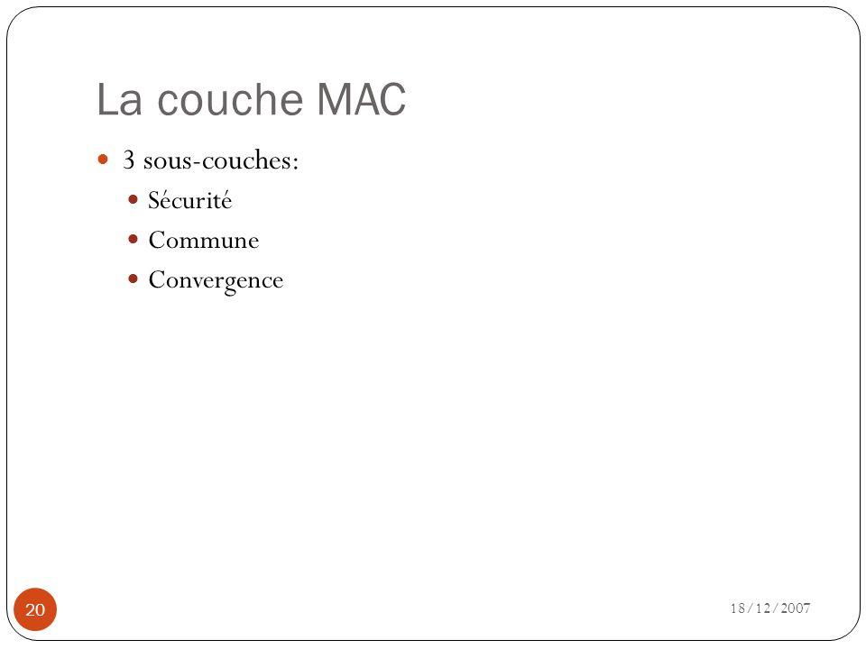 La couche MAC 3 sous-couches: Sécurité Commune Convergence 18/12/2007