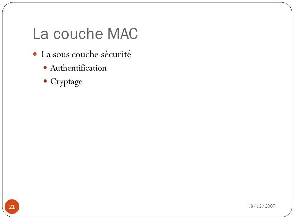 La couche MAC La sous couche sécurité Authentification Cryptage