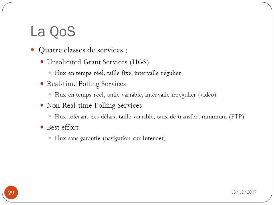La QoS Quatre classes de services : Unsolicited Grant Services (UGS)