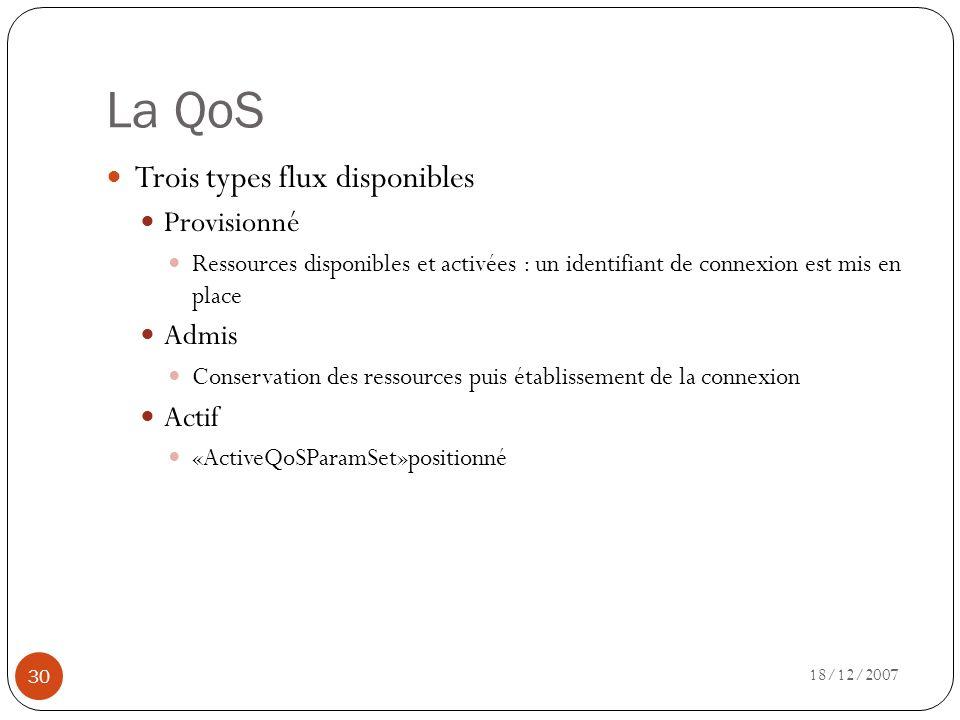 La QoS Trois types flux disponibles Provisionné Admis Actif