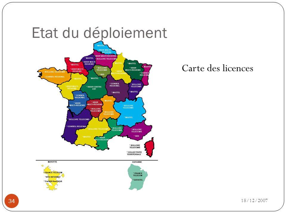 Etat du déploiement Carte des licences 18/12/2007