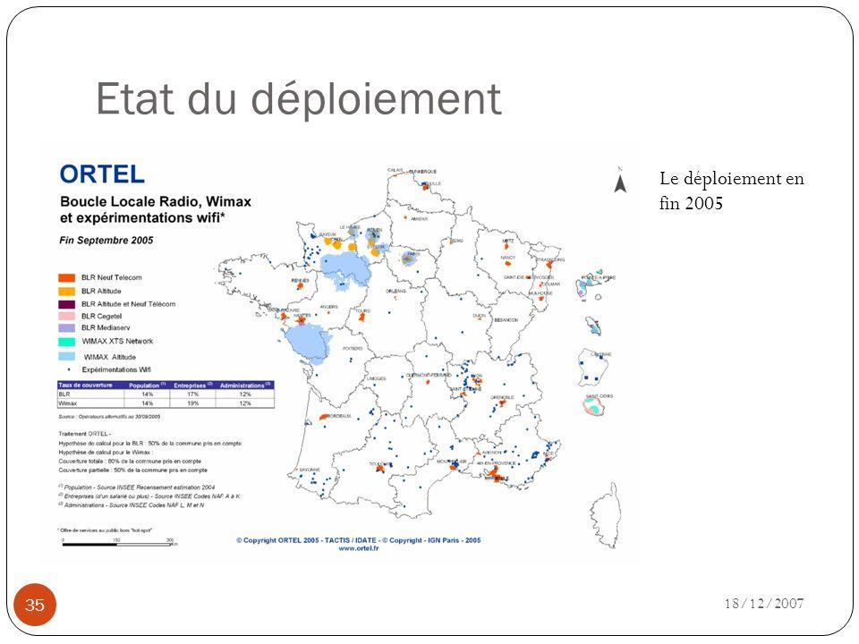 Etat du déploiement Le déploiement en fin 2005 18/12/2007