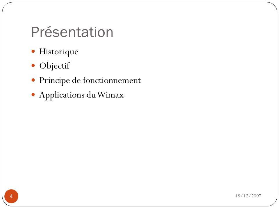 Présentation Historique Objectif Principe de fonctionnement