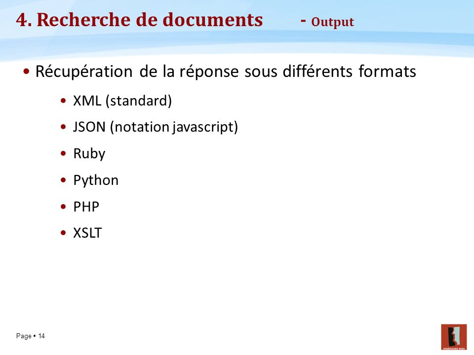 4. Recherche de documents - Output