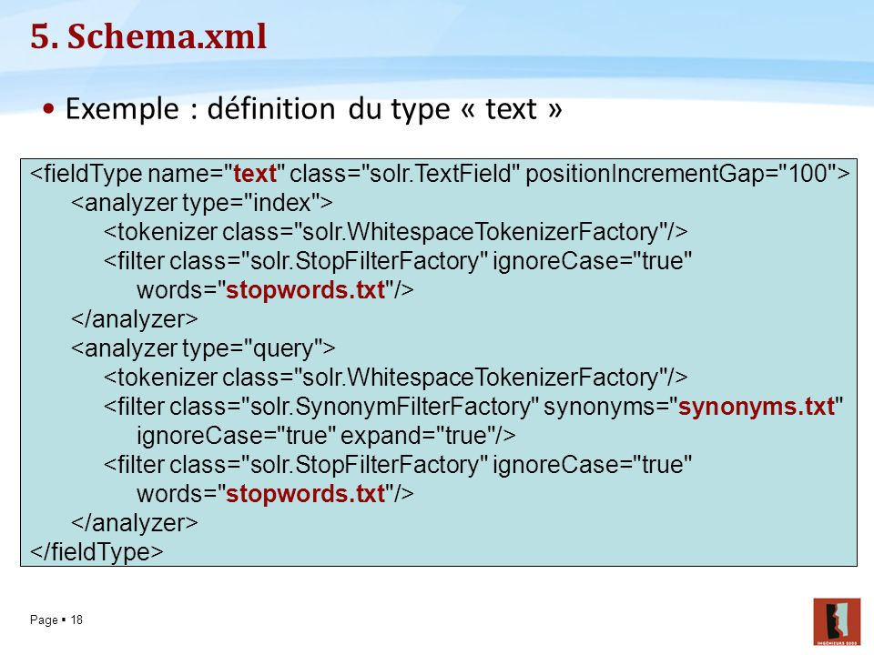 5. Schema.xml Exemple : définition du type « text »