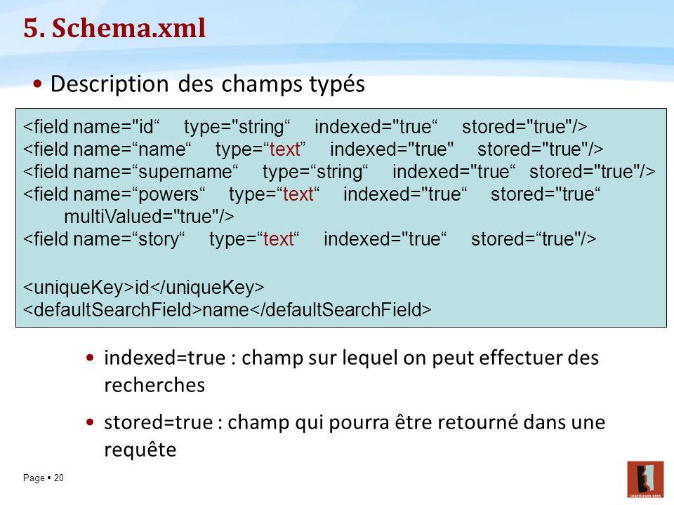 5. Schema.xml Description des champs typés