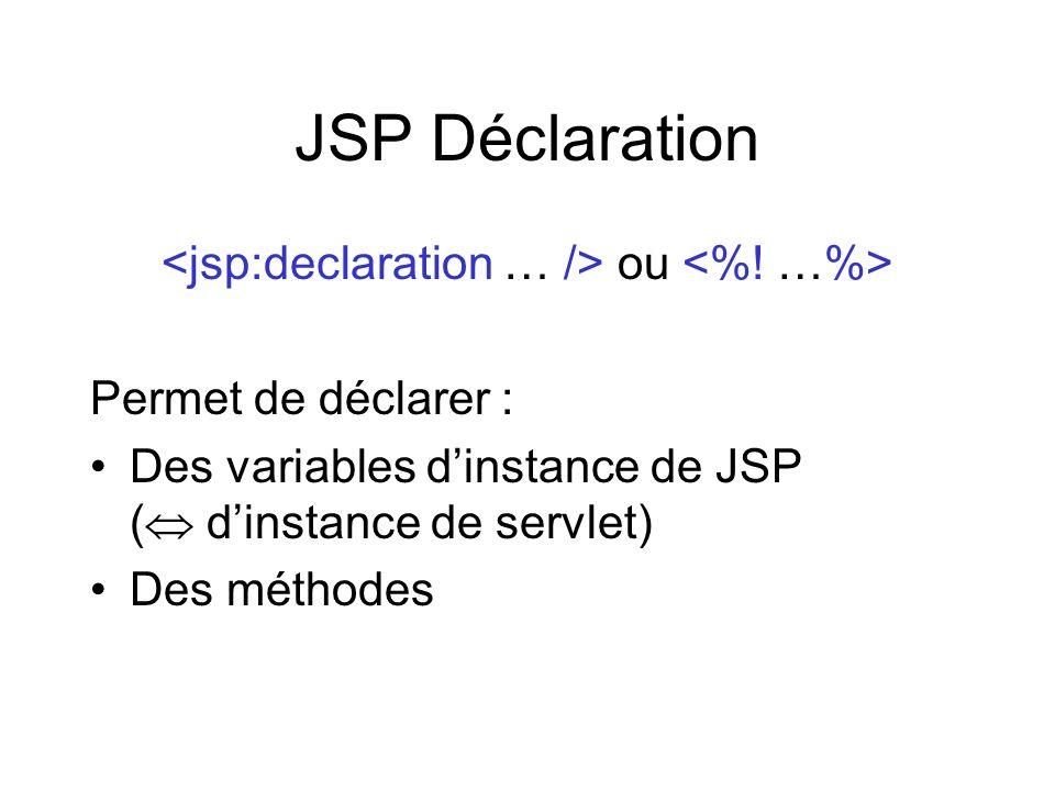 <jsp:declaration … /> ou <%! …%>