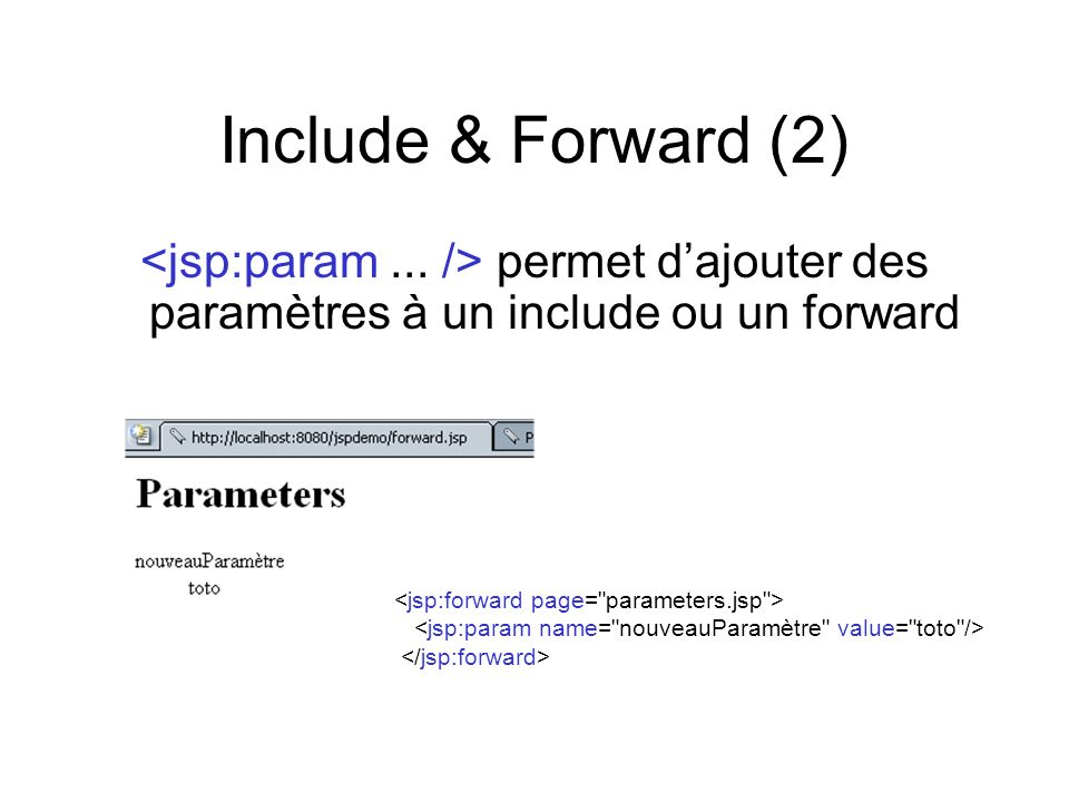 Include & Forward (2)<jsp:param ... /> permet d'ajouter des paramètres à un include ou un forward. <jsp:forward page= parameters.jsp >