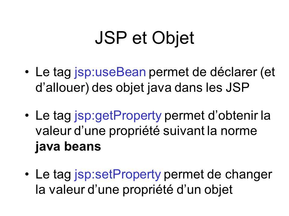 JSP et Objet Le tag jsp:useBean permet de déclarer (et d'allouer) des objet java dans les JSP.
