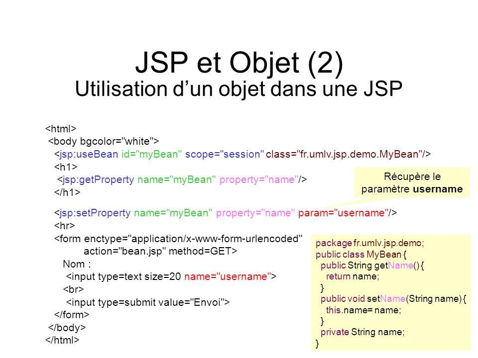 JSP et Objet (2) Utilisation d'un objet dans une JSP <html>