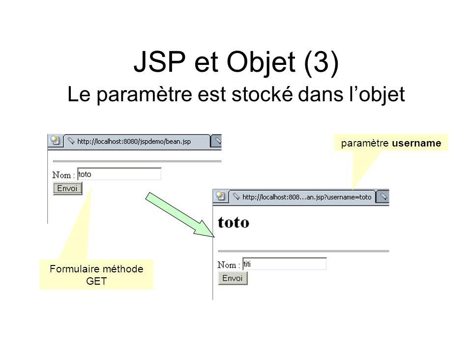 JSP et Objet (3) Le paramètre est stocké dans l'objet
