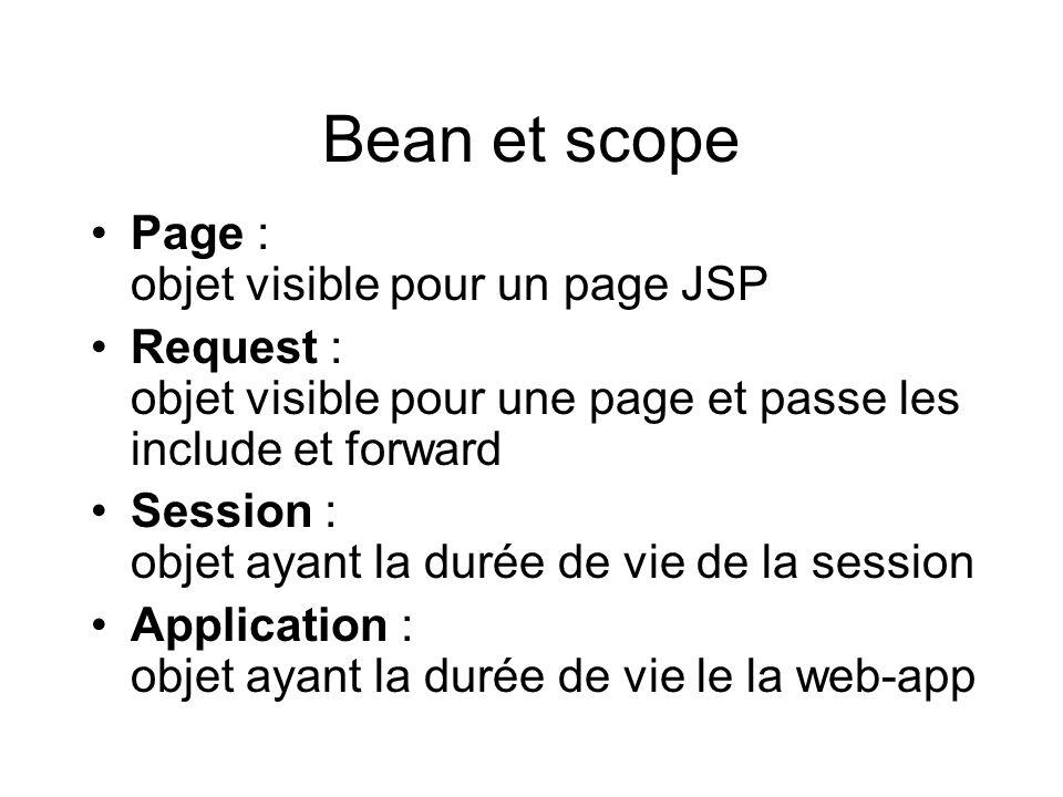 Bean et scope Page : objet visible pour un page JSP