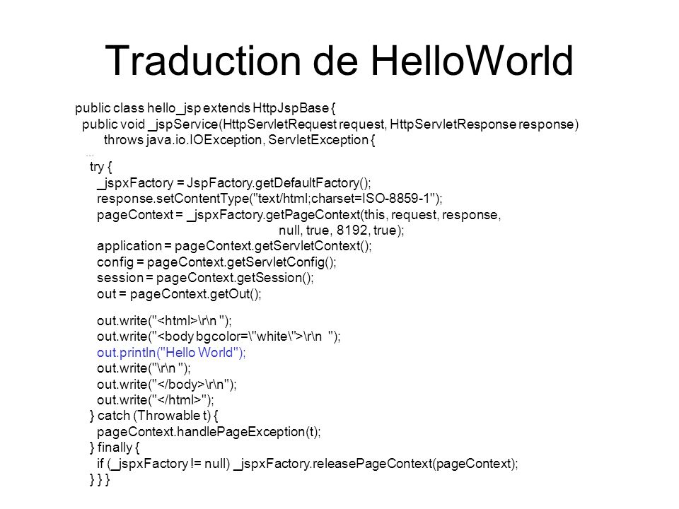 Traduction de HelloWorld