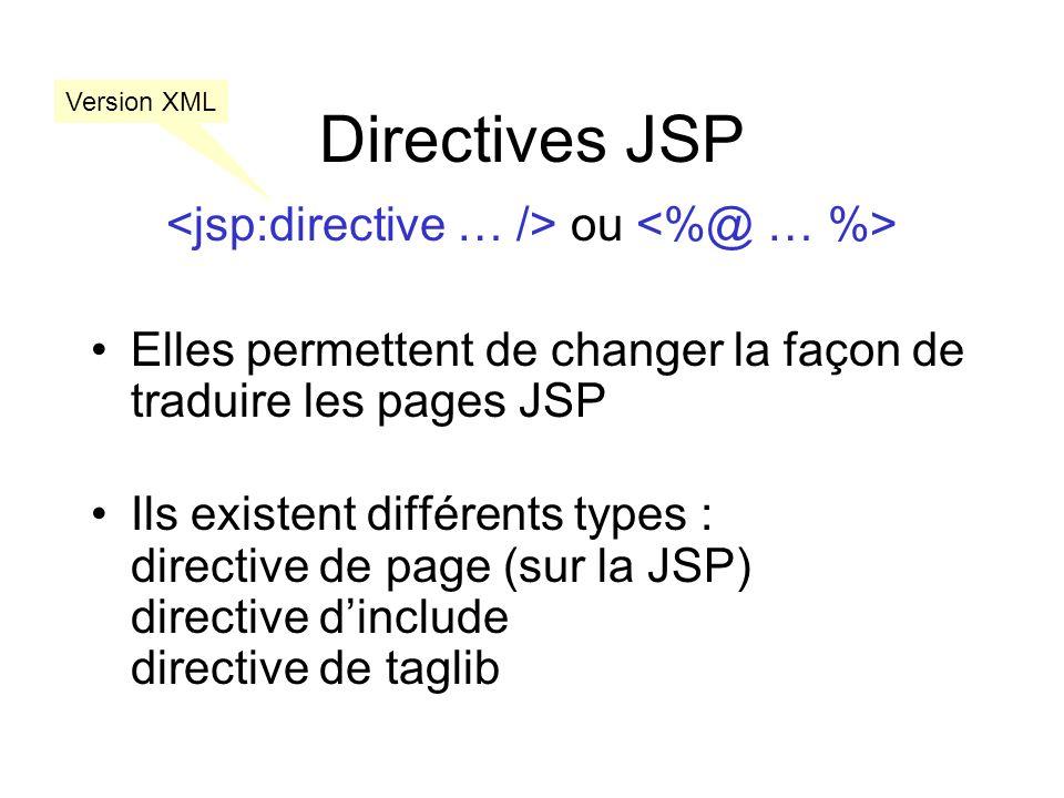 <jsp:directive … /> ou <%@ … %>