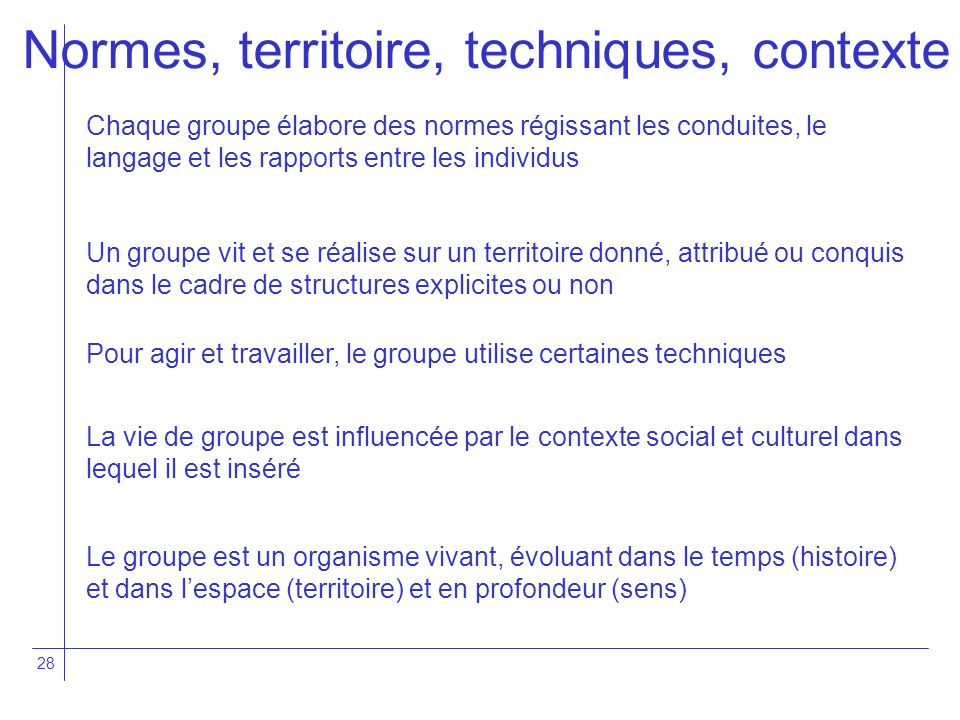 Normes, territoire, techniques, contexte