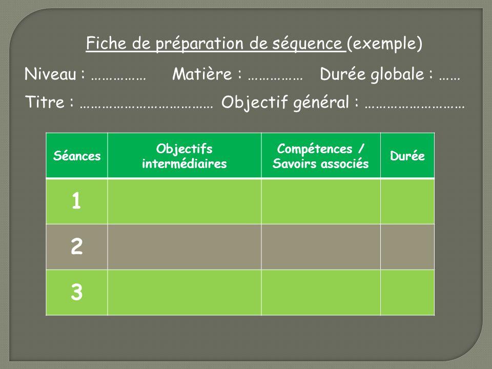 Objectifs intermédiaires Compétences / Savoirs associés