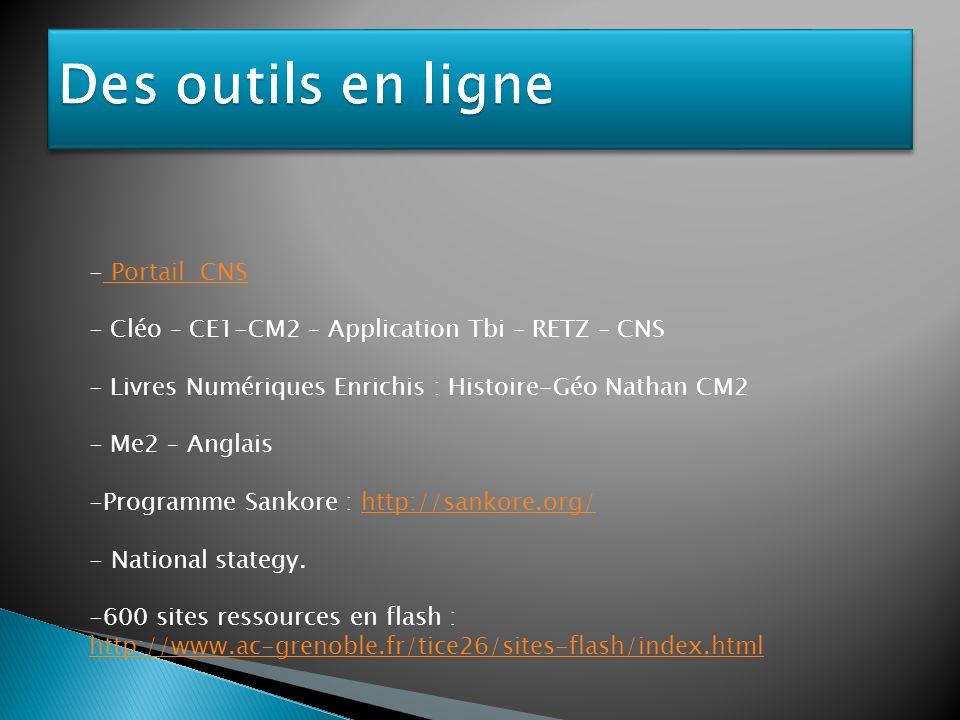 Des outils en ligne Portail CNS