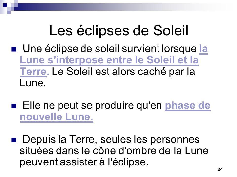 Les éclipses de Soleil Une éclipse de soleil survient lorsque la Lune s interpose entre le Soleil et la Terre. Le Soleil est alors caché par la Lune.