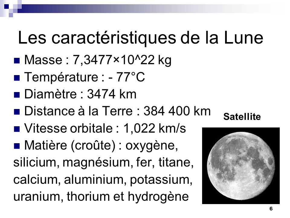 Les caractéristiques de la Lune